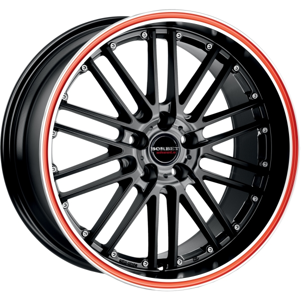 BORBET CW2 Red Line BLACK RIM POLISHED