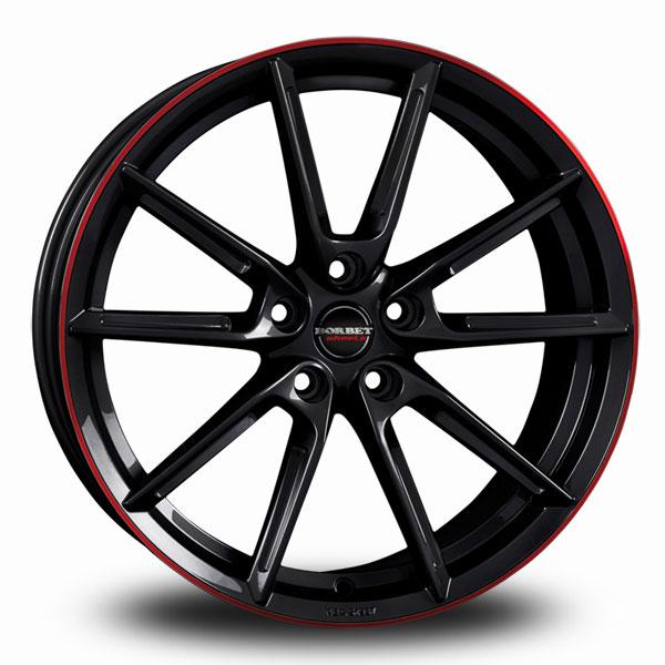 BORBET LX Black Red BLACK GLOSSY RIM RED