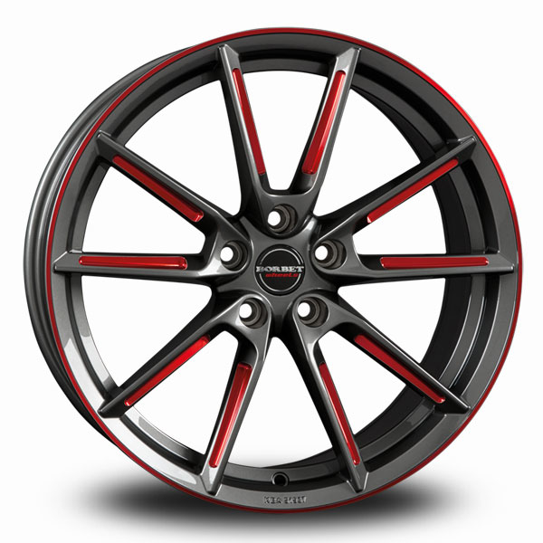 BORBET LX Graphite Red Polished GRAPHITE SPOKE RIM RED POLISHED